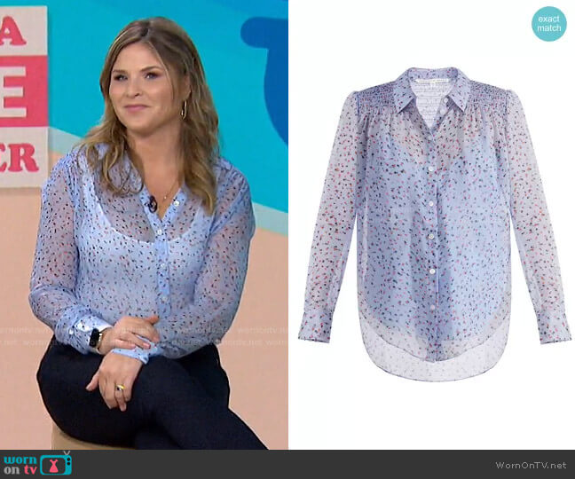 Dazed Silk Floral Button-Down Shirt by Veronica Beard worn by Jenna Bush Hager  on Today