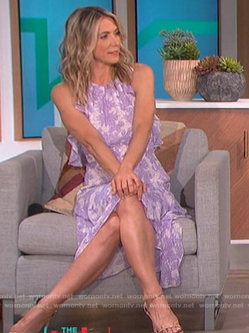Debbie Matenopoulos's lilac floral ruffle dress on The Talk