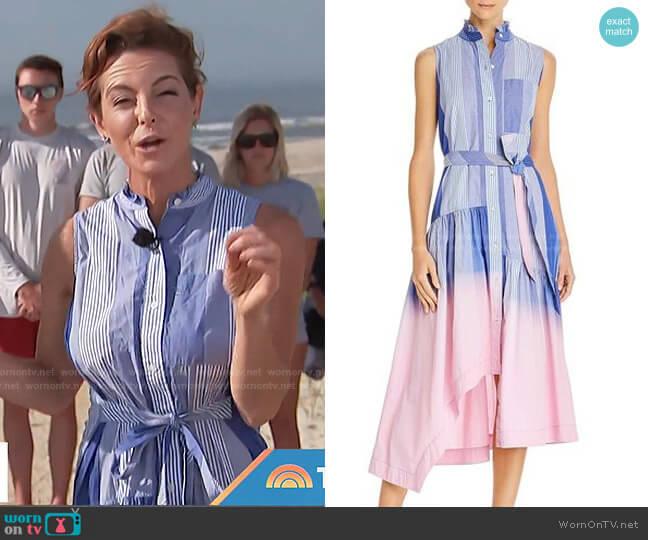 Nerioa Dip-Dye Shirt Dress by Derek Lam 10 Crosby worn by Stephanie Ruhle on Today