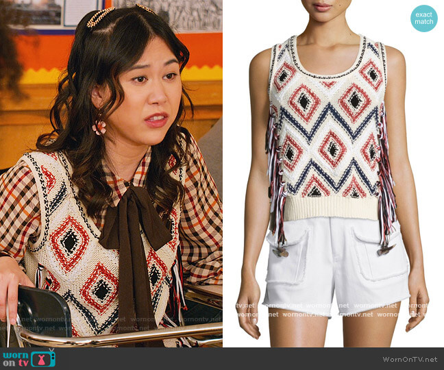 Tassel-Front Sleeveless Knit Shell by Derek Lam 10 Crosby worn by Eleanor Wong (Ramona Young) on Never Have I Ever