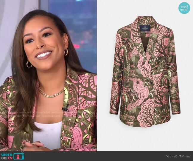 Double-Breasted Pattern Blazer by Scotch & Soda worn by Nicole Lynn on GMA