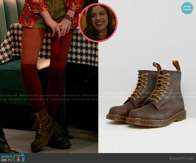 Dr Martens 1460 8-eye boots in brown worn by Nini (Olivia Rodrigo) on High School Musical The Musical The Series