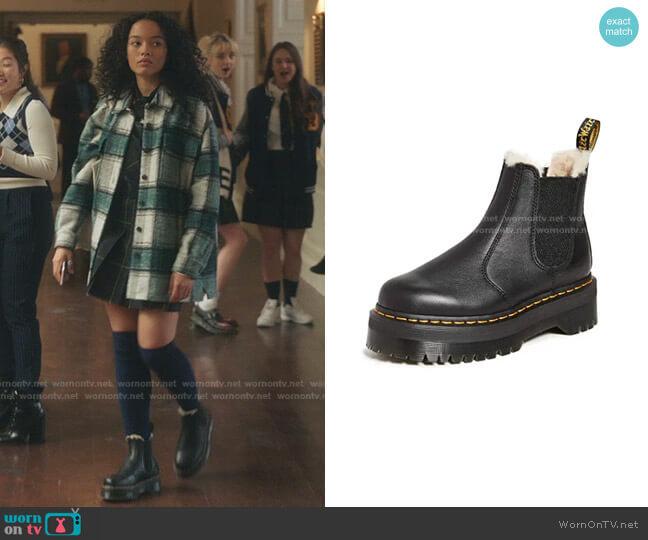2976 Quad Faux Fur Lined Boot by Dr. Martens worn by Zoya Lott (Whitney Peak) on Gossip Girl