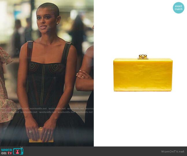 Jean Acrylic Box Clutch by Edie Parker worn by Julien Calloway (Jordan Alexander) on Gossip Girl