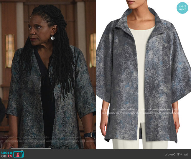 Cosmos Jacquard 3/4-Sleeve Jacket by Eileen Fisher worn by Liz Reddick-Lawrence (Audra McDonald) on The Good Fight