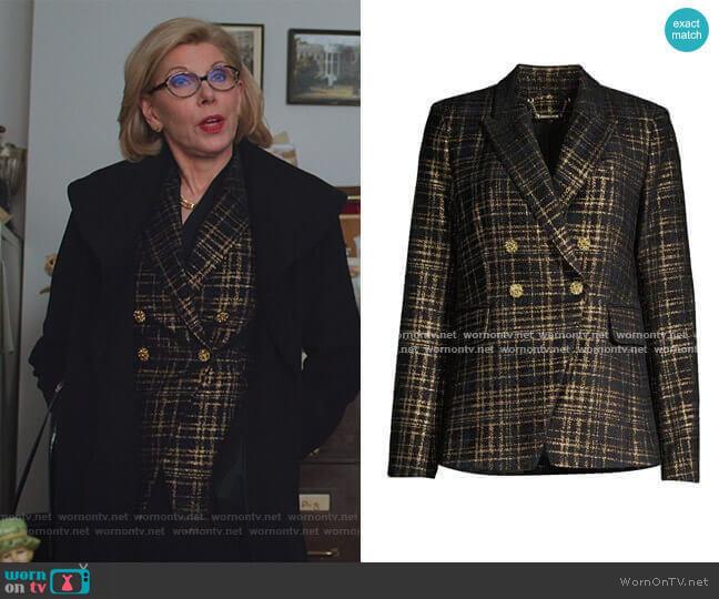 Jezebel Metallic Tweed Double-Breasted Blazer by Elie Tahari worn by Diane Lockhart (Christine Baranski) on The Good Fight