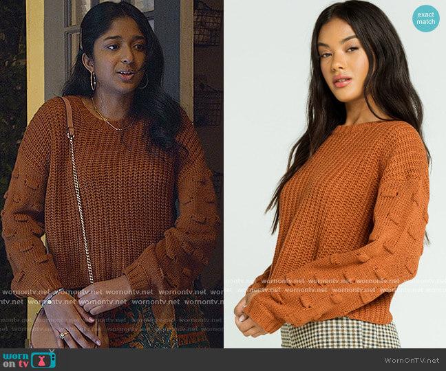 Pom Detail Balloon Sleeve Womens Rust Sweater by Full Tilt worn by Devi Vishwakumar (Maitreyi Ramakrishnan) on Never Have I Ever