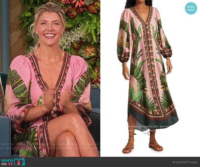 Amazonia Forest Linen-Blend Midi Dress by FARM Rio worn by Amanda Kloots  on The Talk