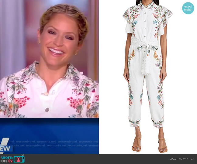 Louise Floral Frilled Sleeves Jumper by FARM Rio worn by Sara Haines  on The View