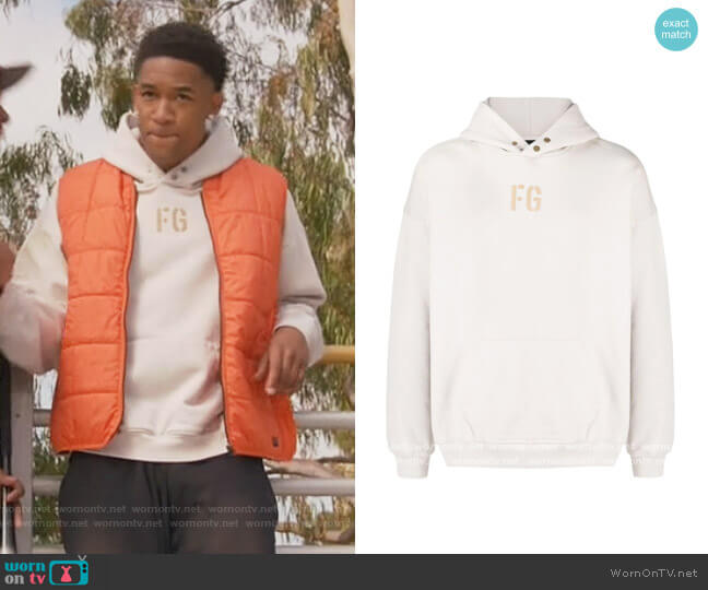 Logo-print pullover hoodie by Fear Of God worn by Peyton Alex Smith on All American