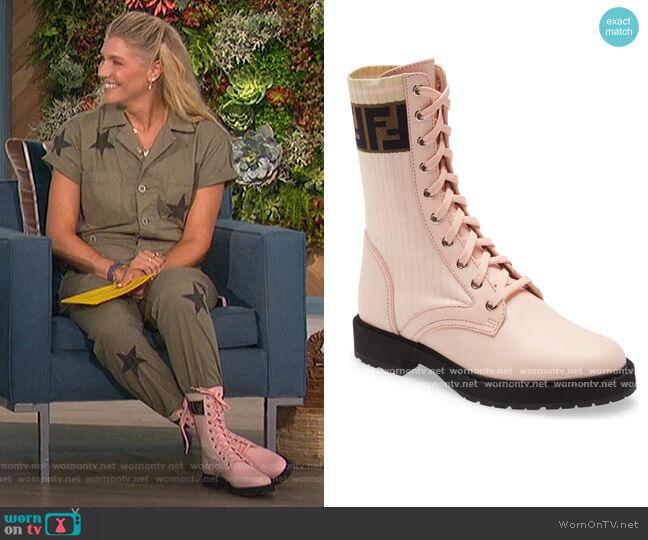 Rockoko Chelsea Sock Combat Boot by Fendi worn by Amanda Kloots  on The Talk