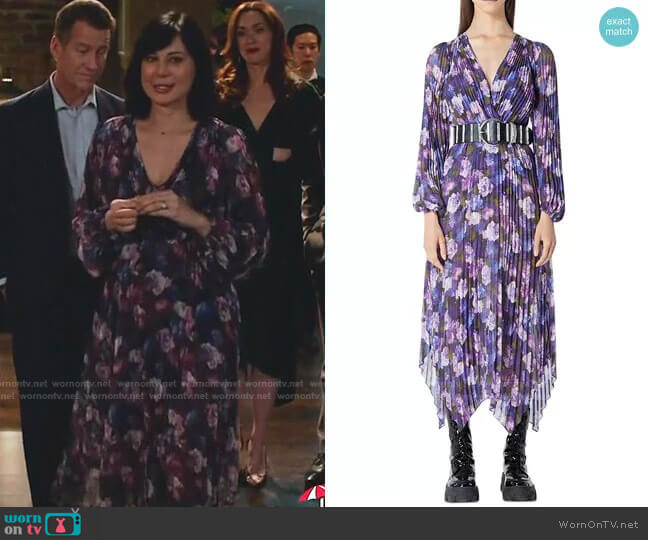 Floral Print Pleated Midi Dress by The Kooples worn by Cassandra Nightingale (Catherine Bell) on Good Witch