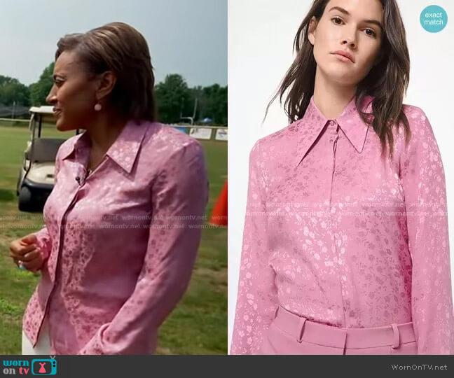 Floral Silk Jacquard Shirt by Michael Kors worn by Robin Roberts  on Good Morning America