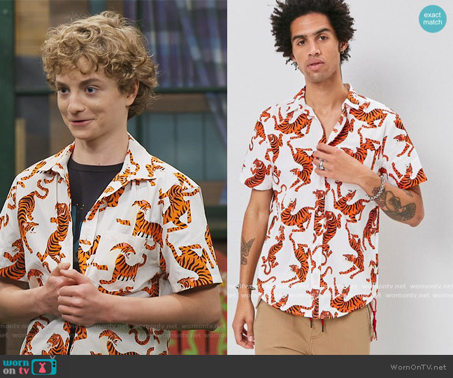 Tiger Print Shirt by Forever 21 worn by Finn Sawyer (Will Buie Jr) on Bunkd