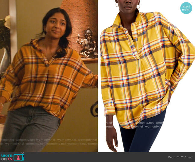 Rhodes Cotton Checked Popover Top by French Connection worn by Devi Vishwakumar (Maitreyi Ramakrishnan) on Never Have I Ever