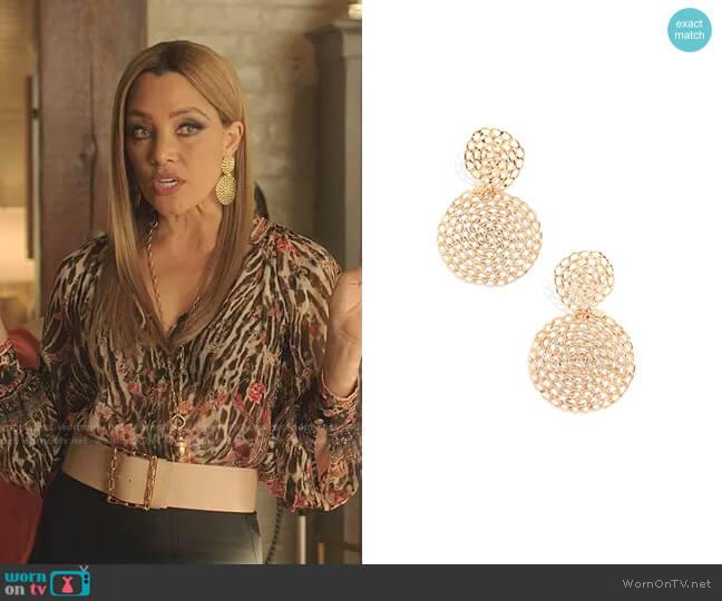 Gourmette Earrings by GAS Bijoux worn by Dominique Deveraux (Michael Michele) on Dynasty