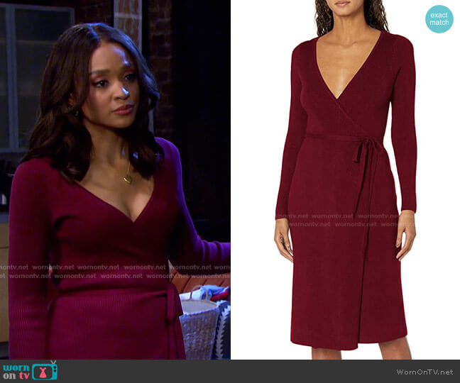 Everly Wrap Sweater Dress by Guess worn by Lani Price (Sal Stowers) on Days of our Lives