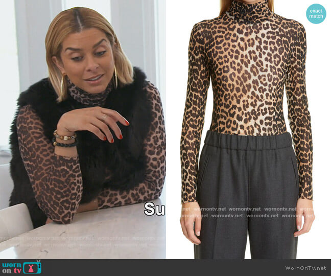 Animal Print Mesh Turtleneck by Ganni worn by Robyn Dixon  on The Real Housewives of Potomac