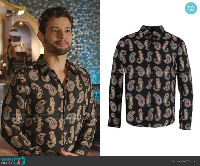 Multicolor Cashmere Shirt by Garcons Infideles worn by Sam Flores (Rafael de la Fuente) on Dynasty