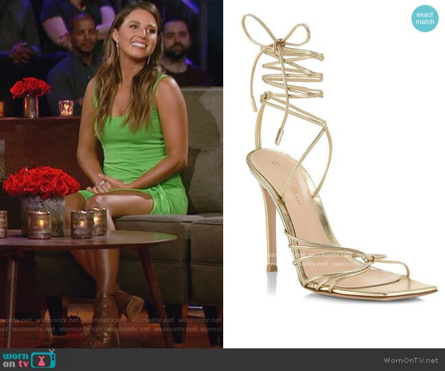 Metallic Leather Sandals by Gianvito Rossi worn by Katie Thurston  on The Bachelorette