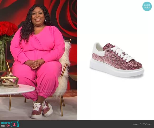Glitter Platform Sneaker by Alexander McQueen worn by Loni Love  on E! News