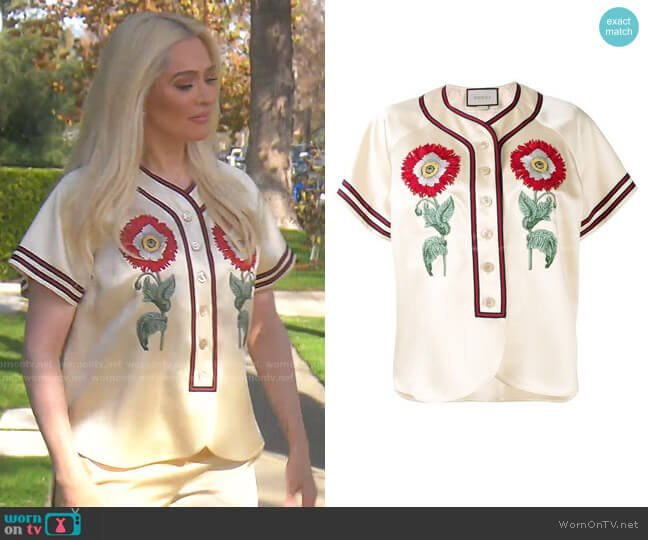 Duchesse Blouse by Gucci worn by Erika Jayne  on The Real Housewives of Beverly Hills