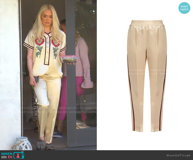 Web-Striped Duchesse Satin Trouser by Gucci worn by Erika Jayne  on The Real Housewives of Beverly Hills