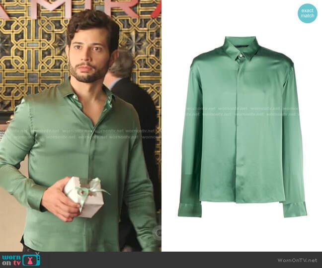 Silk Satin Shirt by Haider Ackermann worn by Sam Flores (Rafael de la Fuente) on Dynasty