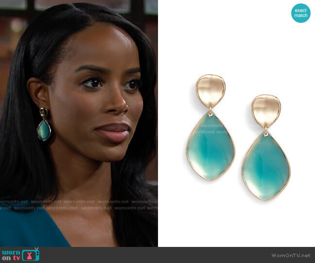 Halogen Painted Petal Double Drop Earrings worn by Imani Benedict (Leigh-Ann Rose) on The Young & the Restless