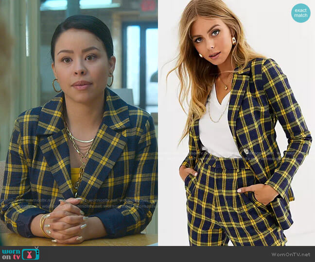 Belted Blazer in Navy and Yellow Check by Heartbreak worn by Mariana Foster (Cierra Ramirez) on Good Trouble