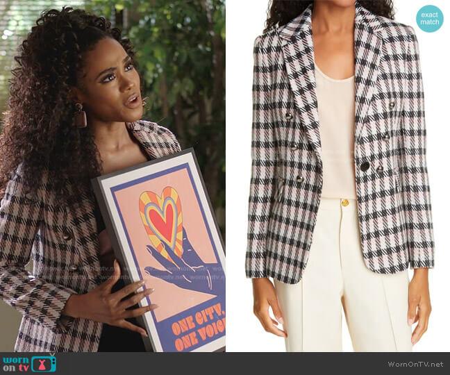 Carine Wool Blend Jacket by Helene Berman worn by Shannon Thornton on Dynasty