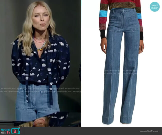 High-Waisted Patch Pocket Jeans by Victoria Beckham worn by Kelly Ripa  on Live with Kelly & Ryan