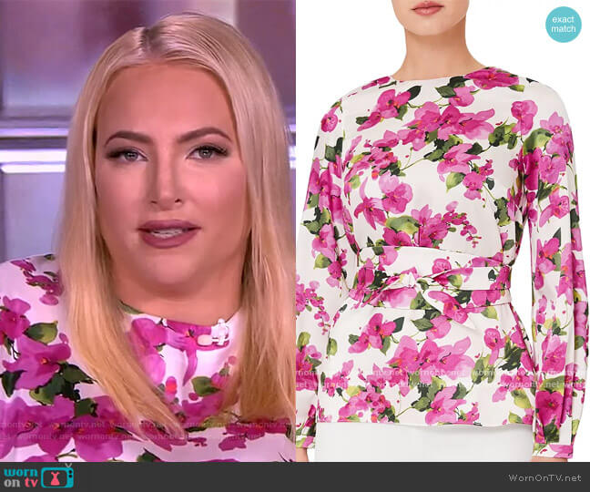 Rosie Floral Print Belted Top by Hobbs London worn by Meghan McCain  on The View