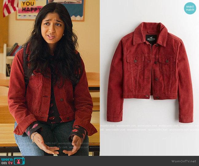 Red Corduroy Jacket by Hollister worn by Devi Vishwakumar (Maitreyi Ramakrishnan) on Never Have I Ever