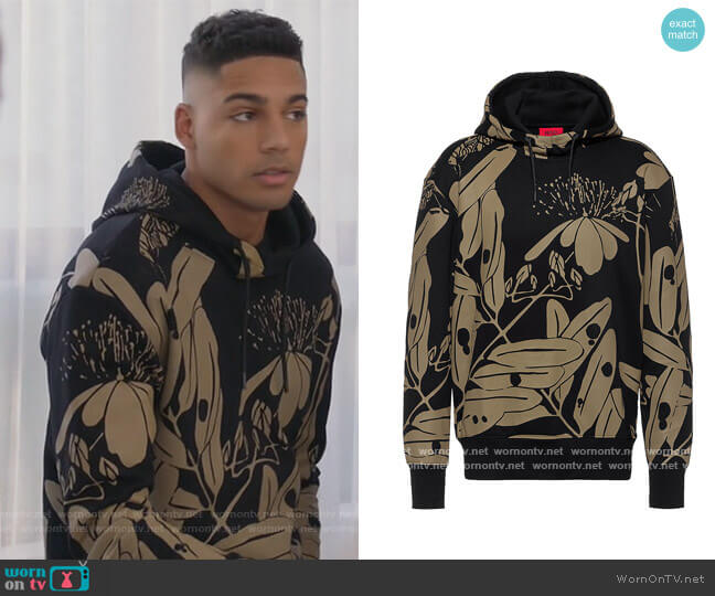 Hooded sweatshirt in French terry with new-season print by HUGO BOSS worn by Michael Evans Behling on All American
