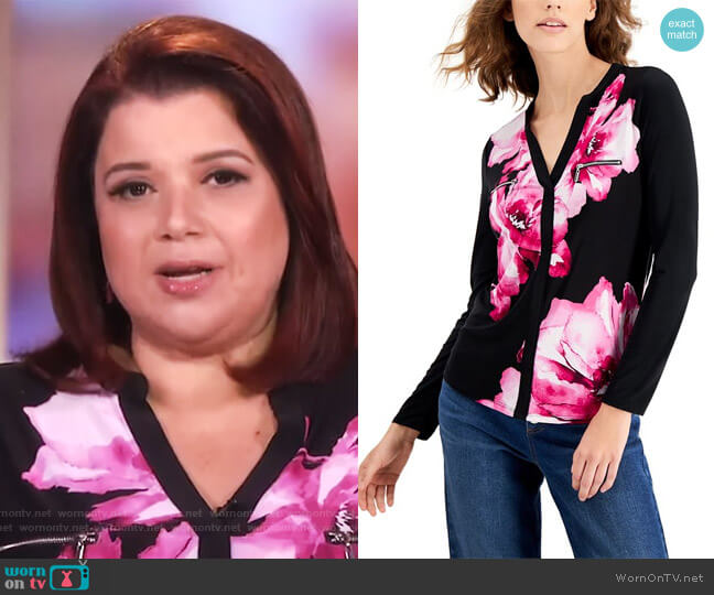 Floral Printed Zip-Detail Top by INC International Concepts worn by Ana Navarro  on The View