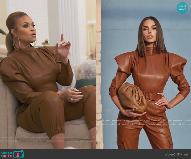 CULPOS X INC Faux-Leather Exaggerated-Sleeve Bodysuit by INC International Concepts worn by Gizelle Bryant  on The Real Housewives of Potomac