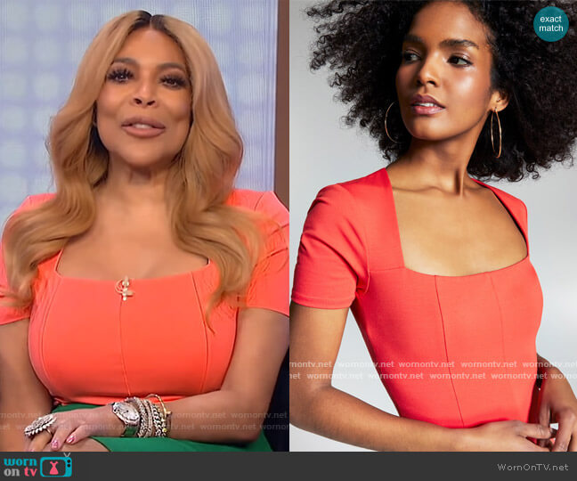 Misa Hylton for INC Short-Sleeve Bodysuit by INC International Concepts worn by Wendy Williams  on The Wendy Williams Show