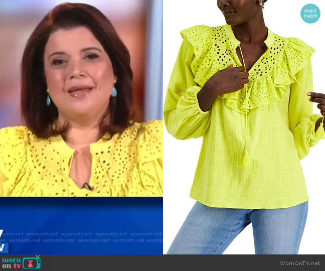 INC Lace-Trim Cotton Top by INC International Concepts worn by Ana Navarro  on The View