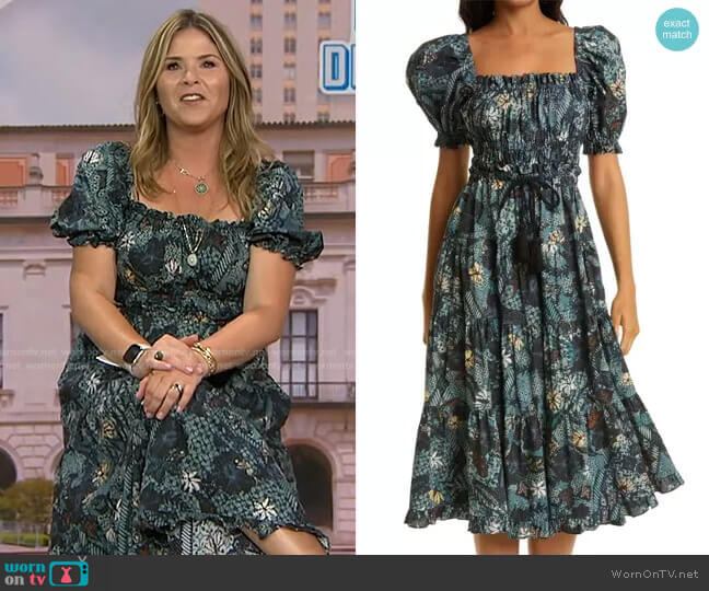 Iliana Puff Sleeve Midi Dress by Ulla Johnson worn by Jenna Bush Hager  on Today