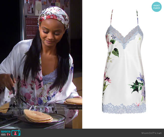 And I Love Her Satin Chemise by In Bloom worn by Chanel Dupree (Raven Bowens) on Days of our Lives