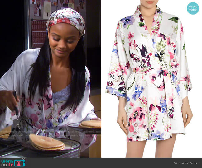 And I Love Her Satin Robe by In Bloom worn by Chanel Dupree (Raven Bowens) on Days of our Lives