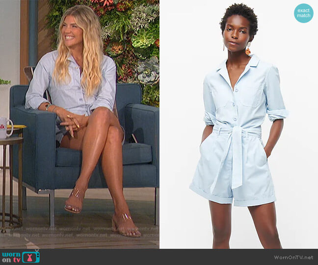 Foundry chino short coveralls by J. Crew worn by Amanda Kloots  on The Talk