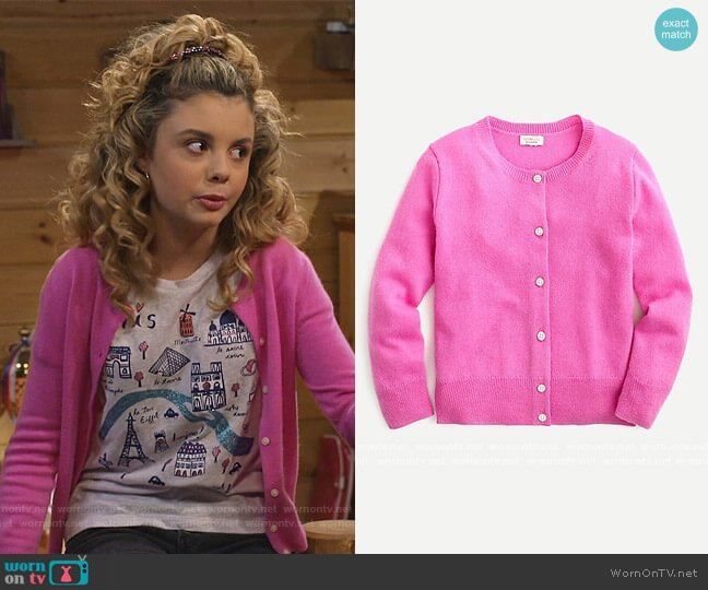 Cashmere Cardigan Sweater by J. Crew worn by Destiny Baker (Mallory James Mahoney) on Bunkd