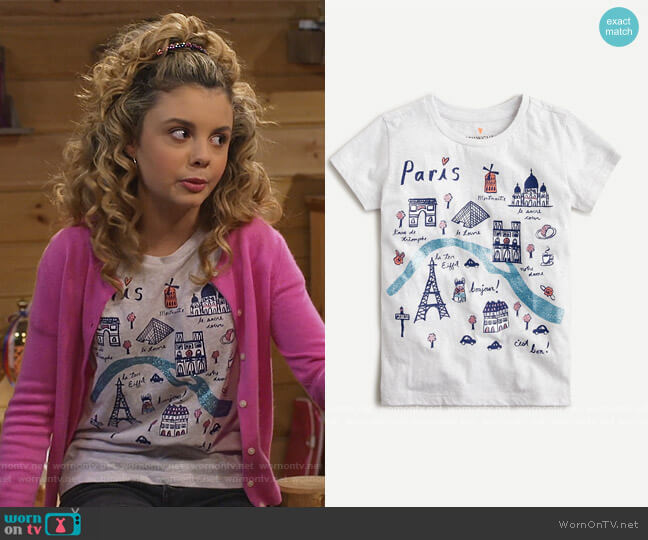 Short-sleeve Paris T-shirt by J. Crew worn by Destiny Baker (Mallory James Mahoney) on Bunkd
