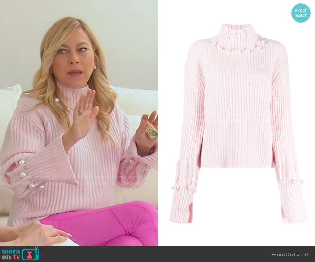 Pearl Embellished Knit Sweater by JW Anderson worn by Sutton Stracke  on The Real Housewives of Beverly Hills