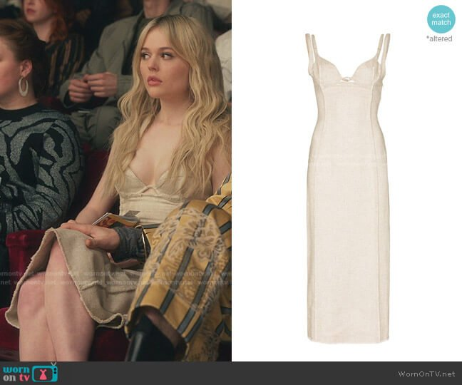 La robe Valerie Corset Midi Dress by Jacquemus worn by Audrey Hope (Emily Alyn Lind) on Gossip Girl