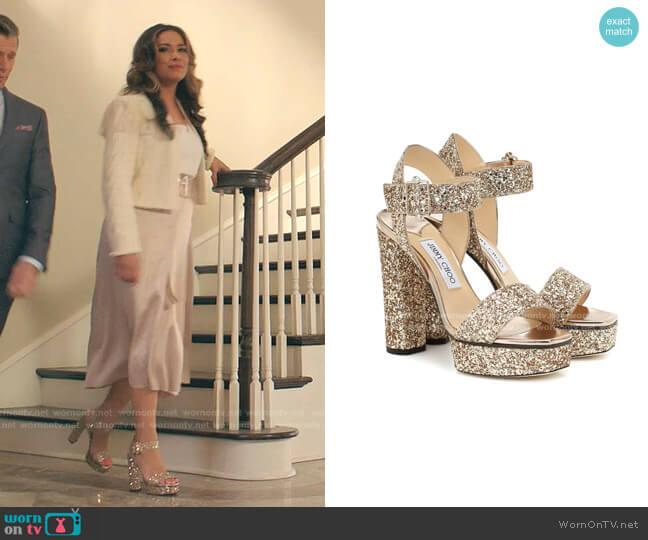 Maie Glitter Platform Sandals by Jimmy Choo worn by Cristal Jennings (Daniella Alonso) on Dynasty