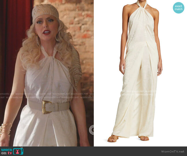 Journey Like No Other Draped Halter Top and Pants by Johanna Ortiz worn by Alexis Carrington (Elaine Hendrix) on Dynasty