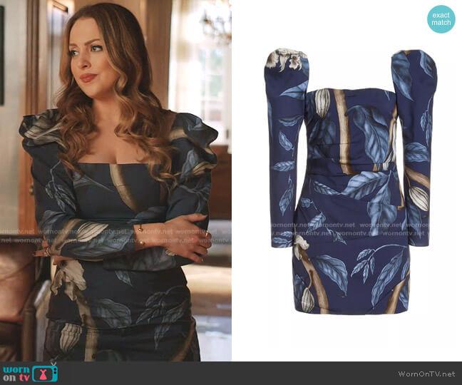 Exclusive Gathering Nature Printed Crepe Mini Dress by Johanna Ortiz worn by Fallon Carrington (Elizabeth Gillies) on Dynasty